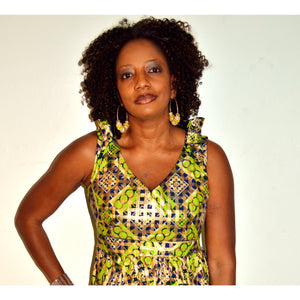 Green And Gold Ankara Wax Short Cocktail Dress - Zabba Designs African Clothing Store