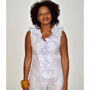 African Inspired White Ruffle V Neck Top And Shorts - Zabba Designs African Clothing Store