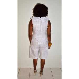 Mo African Inspired White Ruffle V Neck Top And Shorts - Zabba Designs African Clothing Store