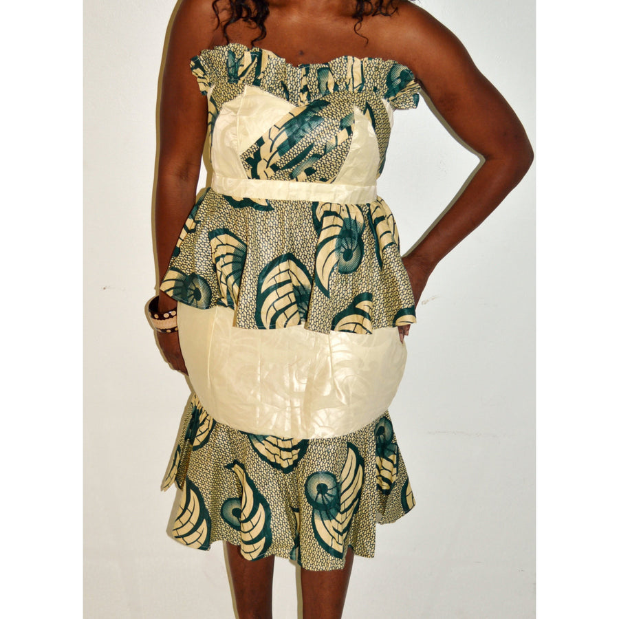 African Ankara And Bazin Green And Beige Skirt Suit - Zabba Designs African Clothing Store
