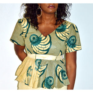 African Print Peplum Blouse - Zabba Designs African Clothing Store