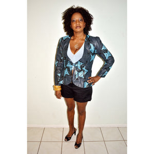 Black And Blue Womens Jacket - Zabba Designs African Clothing Store
