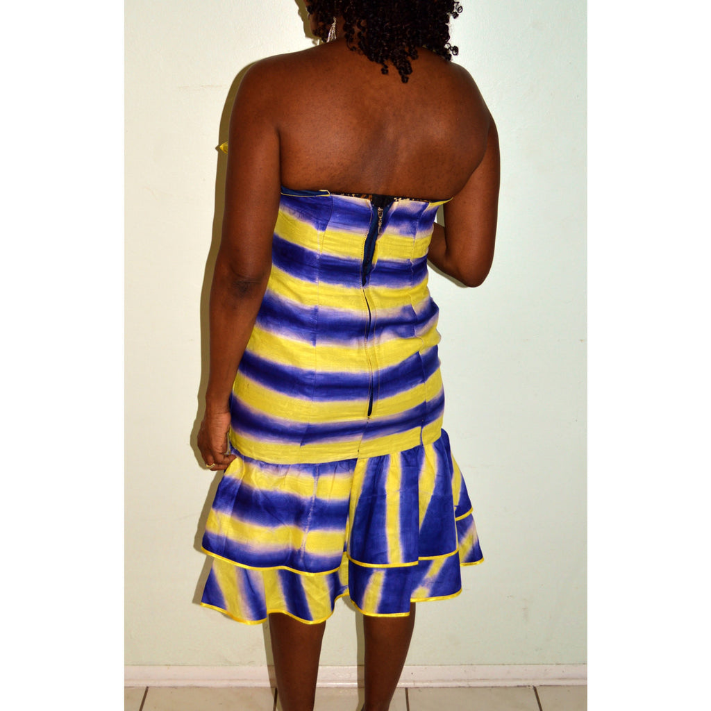 African Tie Dye Strapless  Dress - Zabba Designs African Clothing Store  - 5
