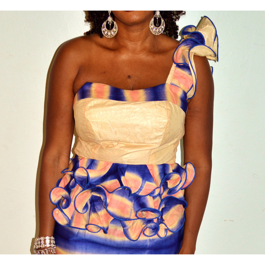 Blue And Pink Two Piece Dress - Zabba Designs African Clothing Store