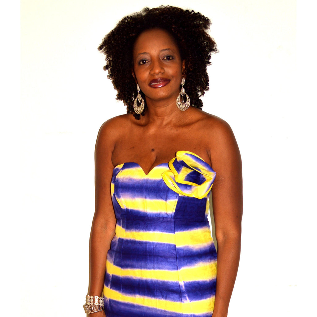 African Tie Dye Strapless  Dress - Zabba Designs African Clothing Store  - 3