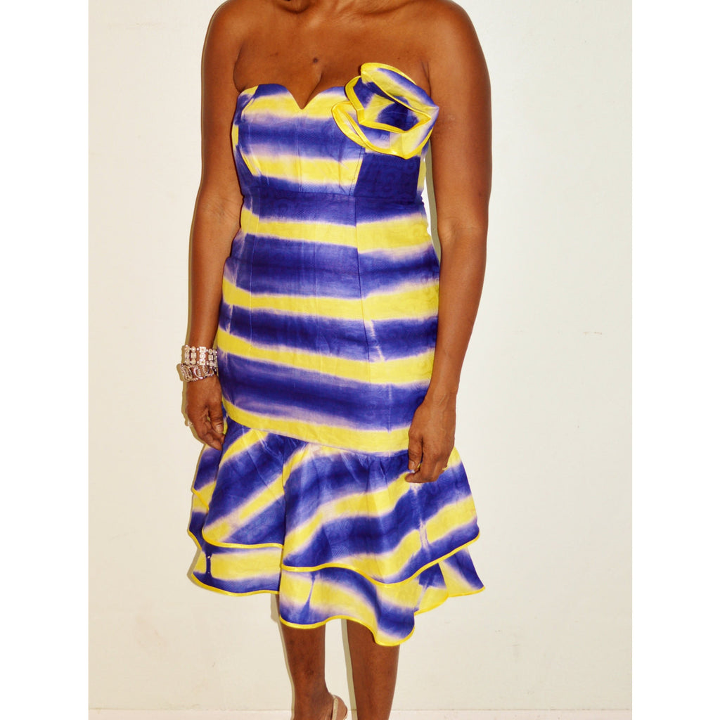 African Tie Dye Strapless  Dress - Zabba Designs African Clothing Store  - 4