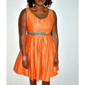 Tangy Orange Ankara Print Midi Dress - Zabba Designs African Clothing Store