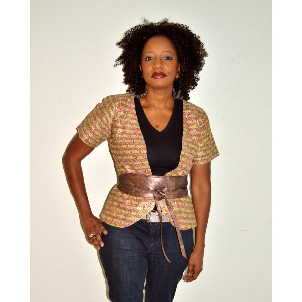 Brown Ankara African Wax Print Jacket - Zabba Designs African Clothing Store