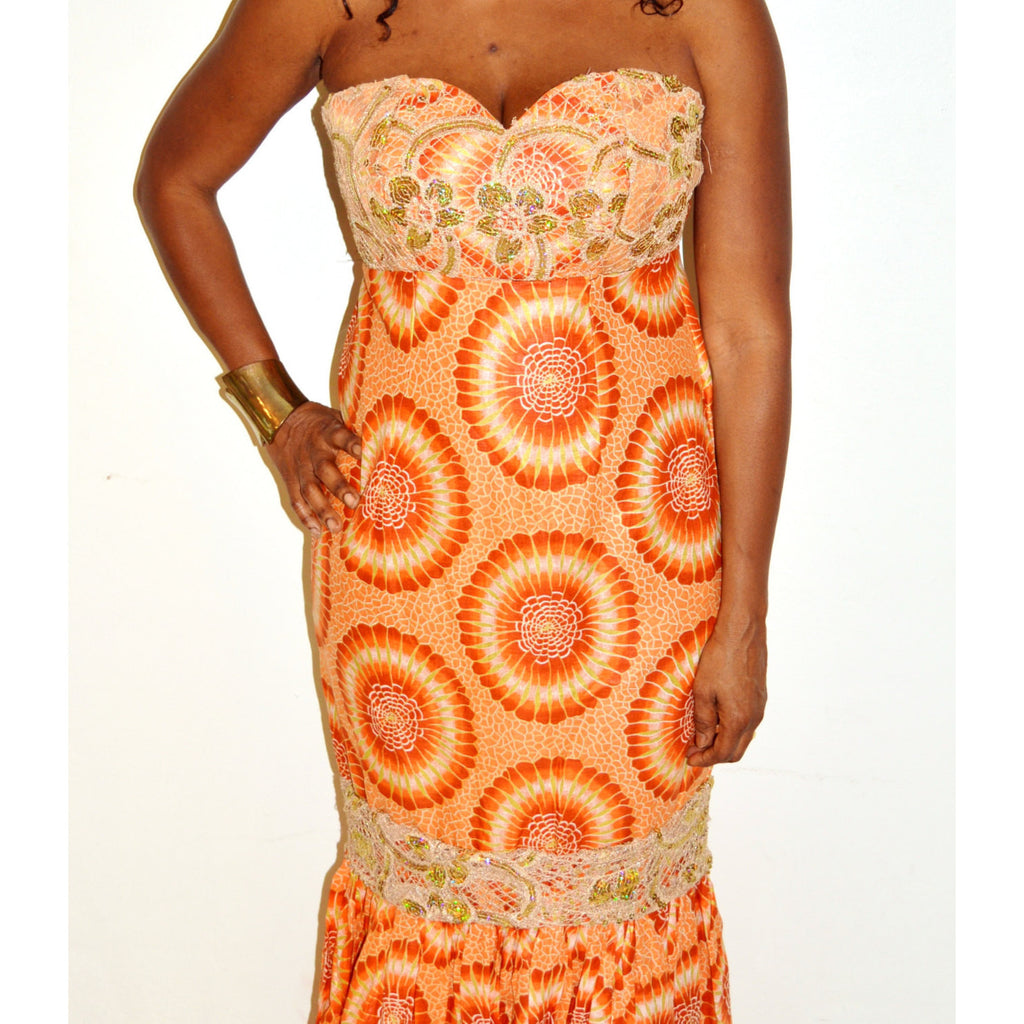 Strapless Orange And Gold Lace Long Dress - Zabba Designs African Clothing Store