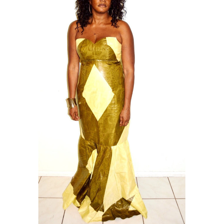 Green And Beige Abstract Floor Length Dress - Zabba Designs African Clothing Store