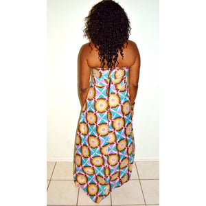 Pink Geometric African Print Maxi  Dress - Zabba Designs African Clothing Store  - 4