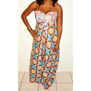 Pink Geometric African Print Maxi  Dress - Zabba Designs African Clothing Store  - 5
