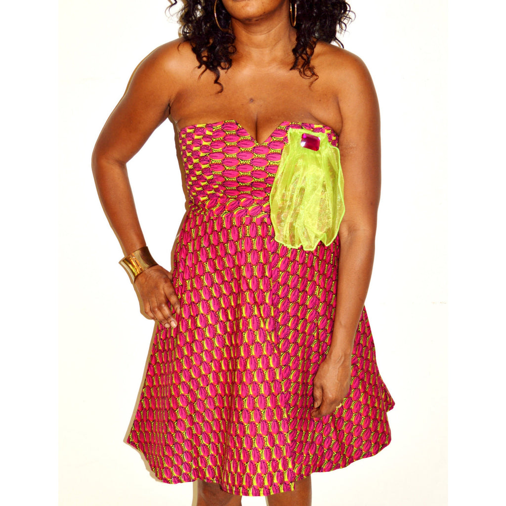 Strapless African Print Cocktail Dress - Zabba Designs African Clothing Store  - 1