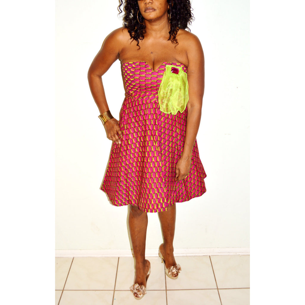 Strapless African Print Cocktail Dress - Zabba Designs African Clothing Store  - 3