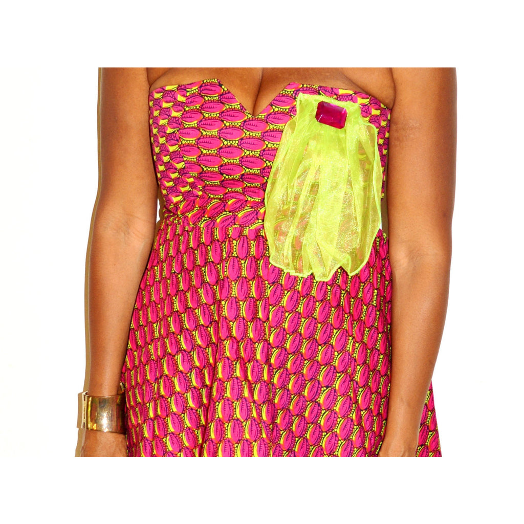 Strapless African Print Cocktail Dress - Zabba Designs African Clothing Store  - 4
