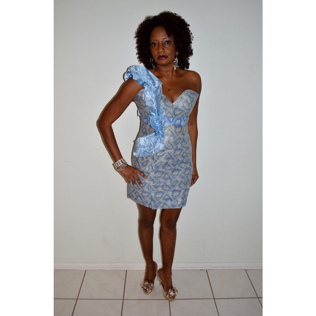 Nila African Inspired Blue Wax Print Midi Dress - Zabba Designs African Clothing Store