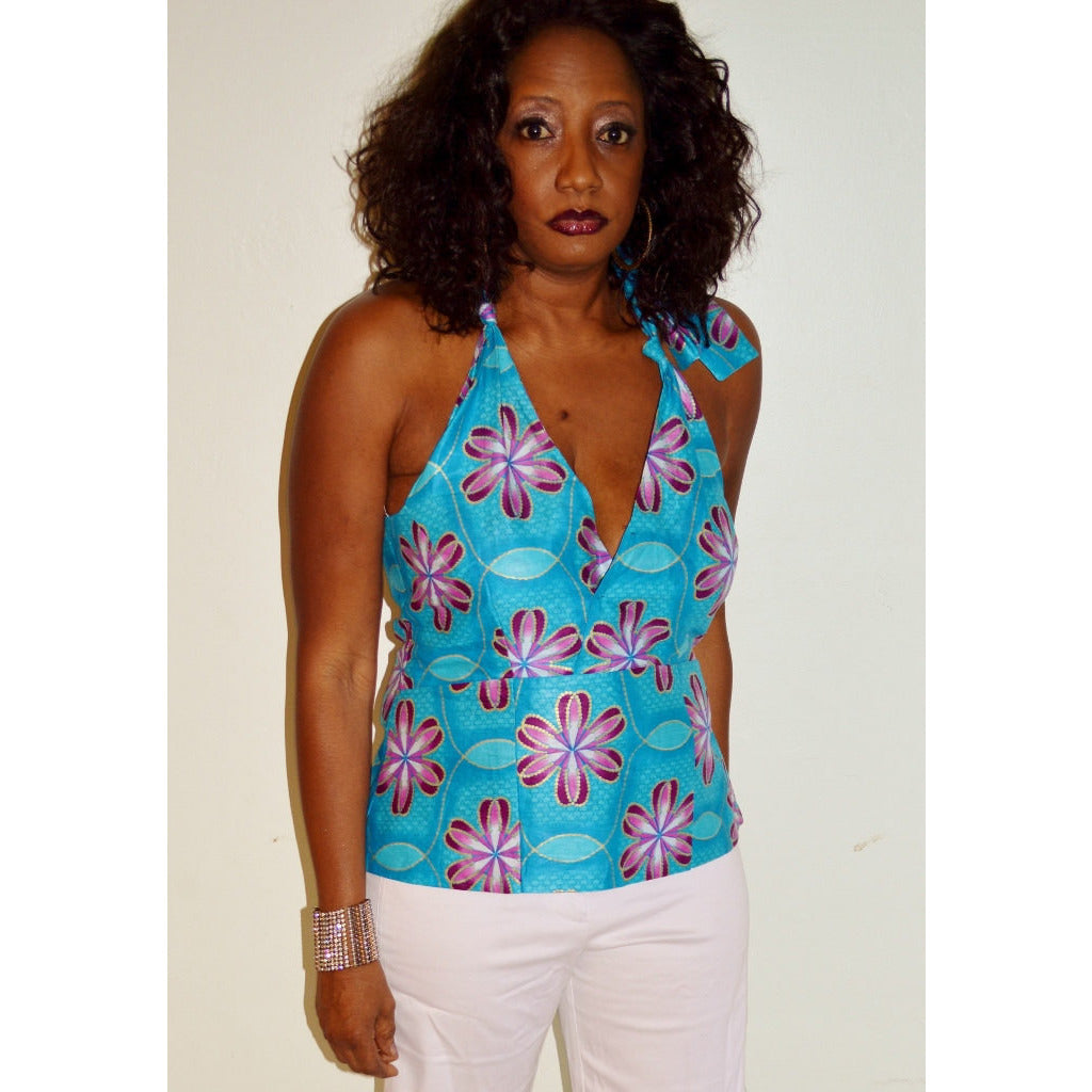 Collette Blue African Print Halter Blouse - Zabba Designs African Clothing Store
