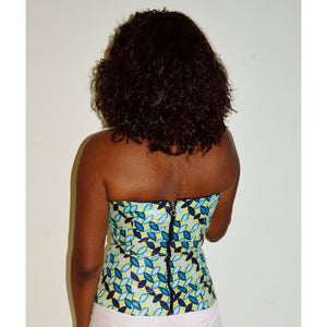 Weezie Blue Halter African Fashion Top - Zabba Designs African Clothing Store