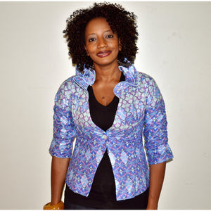 Blue Handmade Ruffle Collar Jacket - Zabba Designs African Clothing Store