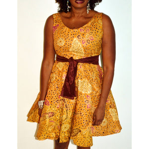 Brown And Gold  African Print Short  Dress - Zabba Designs African Clothing Store
