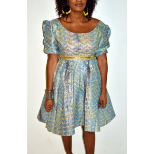 Blue Moon Ankara African Midi Dress - Zabba Designs African Clothing Store