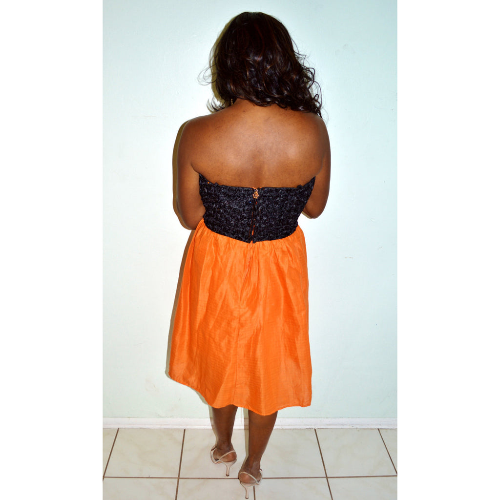Strapless Black Lace And Orange Linen Dress - Zabba Designs African Clothing Store