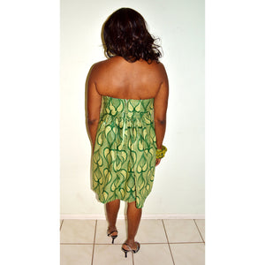 Beige And Green  Lace AFrican Print Strapless  Dress - Zabba Designs African Clothing Store