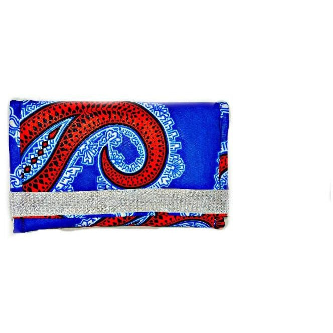 Red, White And Blue African Print Jewel Purse - Zabba Designs African Clothing Store