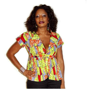Orange And Yellow  pleated Jacket - Zabba Designs African Clothing Store