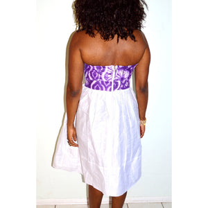 Purple Flower And White African Midi Dress - Zabba Designs African Clothing Store