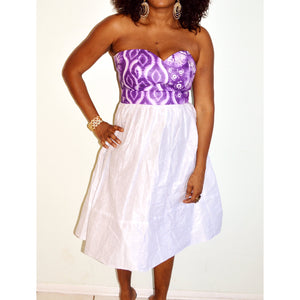 Purple And White African Print And Linen Midi Dress - Zabba Designs African Clothing Store