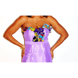 Lilac African Maxi  Dress Patchwork Design - Zabba Designs African Clothing Store