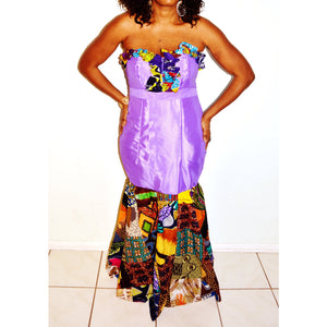 Lilac Satin And Ankara Patchwork Dress - Zabba Designs African Clothing Store