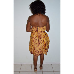African Tie Dye Dress, Yellow Dress - Zabba Designs African Clothing Store