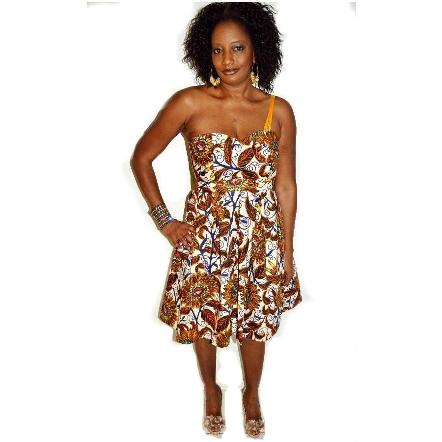 Brown One Shoulder Cocktail Dress - Zabba Designs African Clothing Store