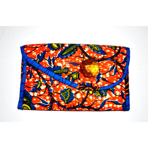 Yellowish Orange And Blue African  Print Clutch - Zabba Designs African Clothing Store