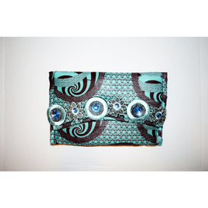 Blue African Print Designer Evening Clutch Bag - Zabba Designs African Clothing Store
