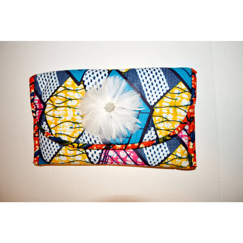 Blue And Pink Vlisco Print African Inspired Womens Clutch - Zabba Designs African Clothing Store