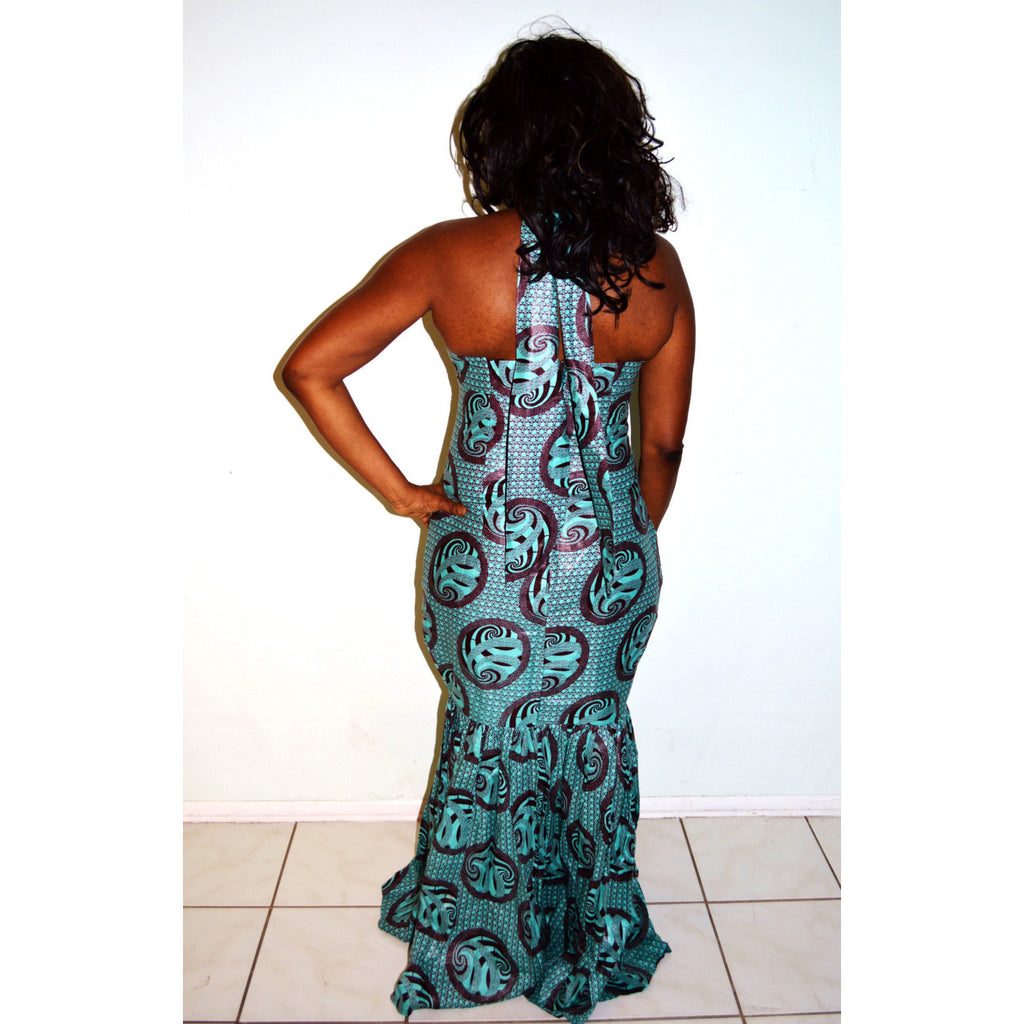 Blue Evening Dress- African Ankara Print Formal Dress - Zabba Designs African Clothing Store