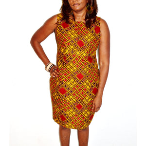 Brown And Red Pencil Midi Dress - Zabba Designs African Clothing Store