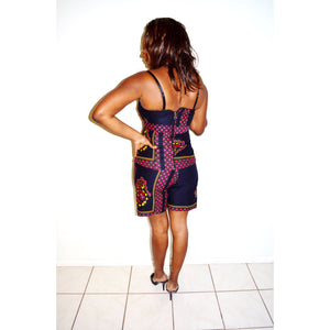 Black And Pink Strapless African Ankara Print Pants Set - Zabba Designs African Clothing Store