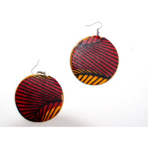 Red Wood African Fabric Cover Earrings - Zabba Designs African Clothing Store
