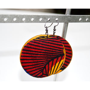 Red Round Wood African Fabric Earrings - Zabba Designs African Clothing Store