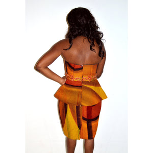 Brown And Orange African Ankara Print Strapless Dress - Zabba Designs African Clothing Store