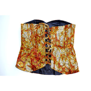 Brown African Tiger Print Bustier Party Top - Zabba Designs African Clothing Store