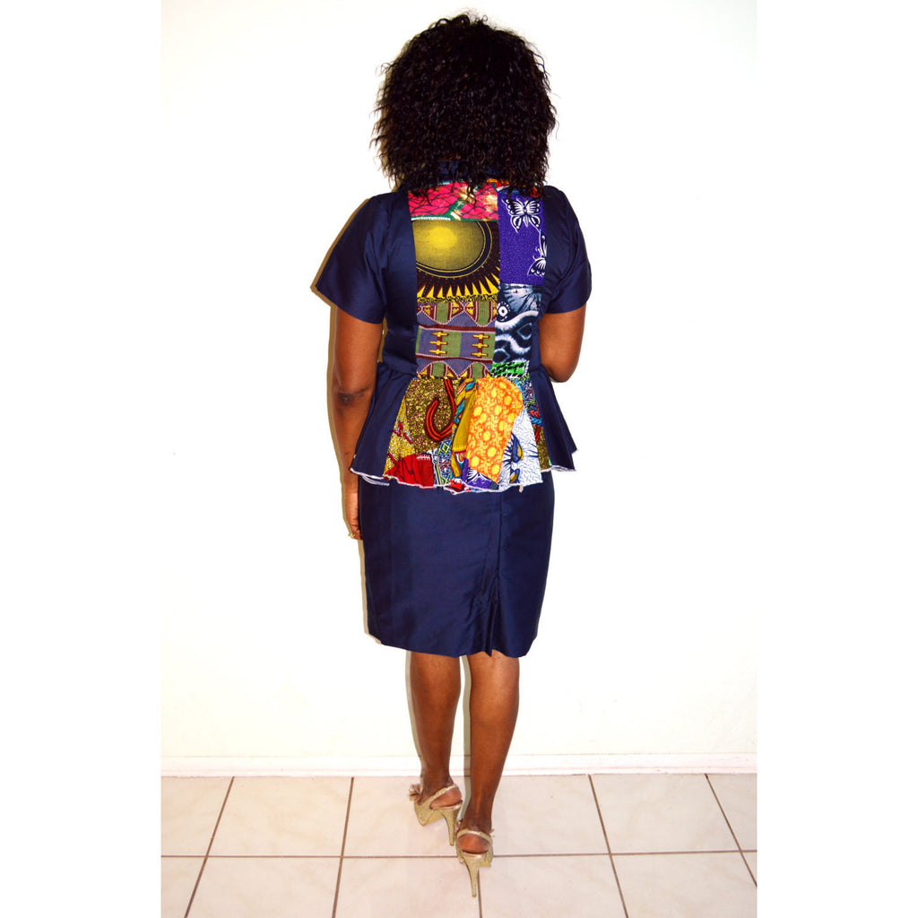 African Print And Blue Wooden Two Piece Dress - Zabba Designs African Clothing Store