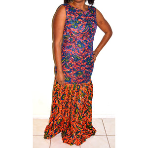 Blue Lace And African Ankara Fabric Evening Dress - Zabba Designs African Clothing Store
