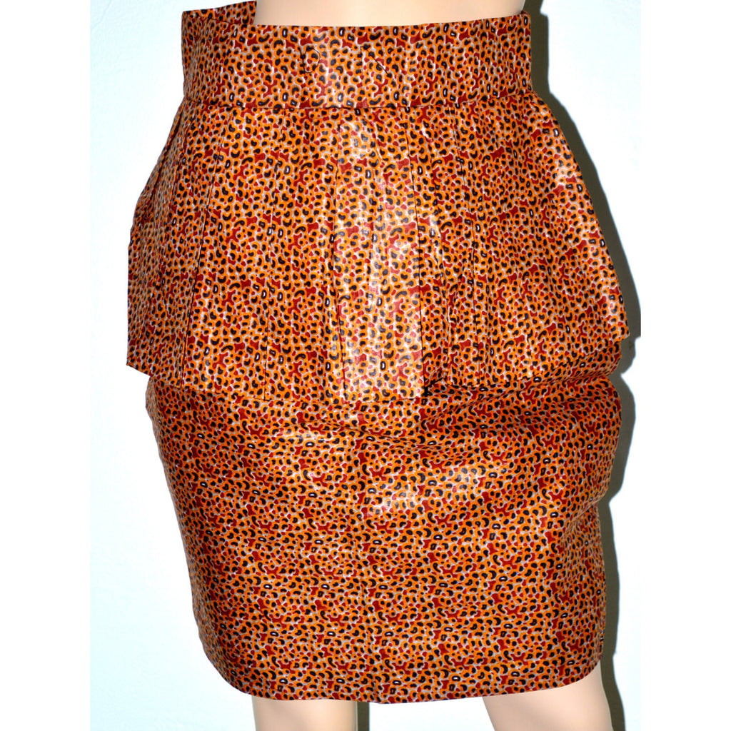 Ato Orange High Waist Peplum Pencil Skirt - Zabba Designs African Clothing Store