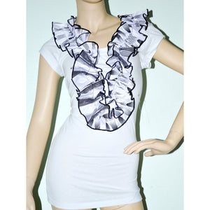 White And Black Trim Short Sleeve Ankara Accent T-Shirt - Zabba Designs African Clothing Store