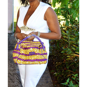 Kise African Wax Print Top Handle Fabric Tote - Zabba Designs African Clothing Store